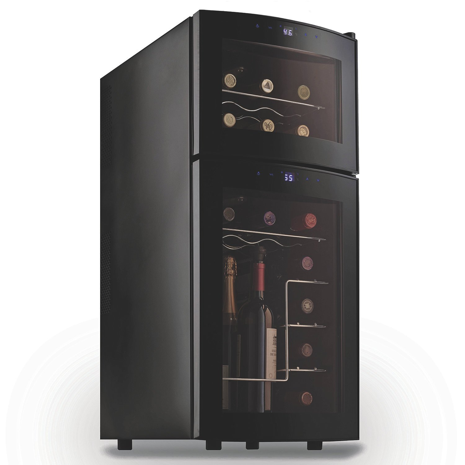Wine Enthusiast 272031910 Silent 21 Bottle Dual Zone Wine Refrigerator with Curved Doors, Small, Black by Wine Enthusiast