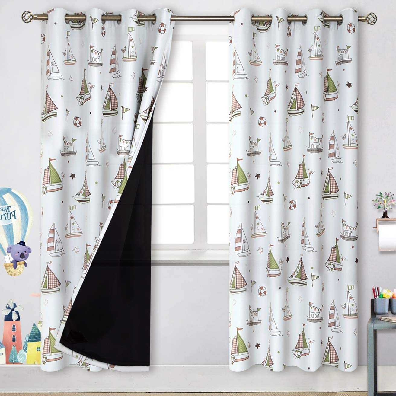 BGment 100 Blackout Curtains for Kids Bedroom with Black Liner, 2 Layers Thermal Insulated Lined Noise Reducing Grommet Curtains, White Base with Pink and Green Sail Boats, 52 X 84 inch, 2 Panels