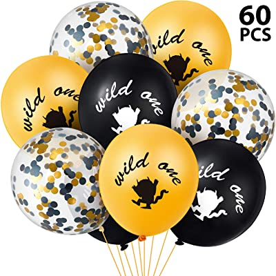 60 Pieces Wild One Latex Balloon Gold Black Confetti Balloons for Baby First Birthday Party Wild One Party Supplies: Toys & Games
