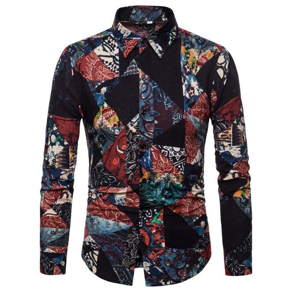 RNTOP Mens Vintage Ethnic Printed Button Down Collar Long Sleeve Slim Fit Casual Beach Shirts