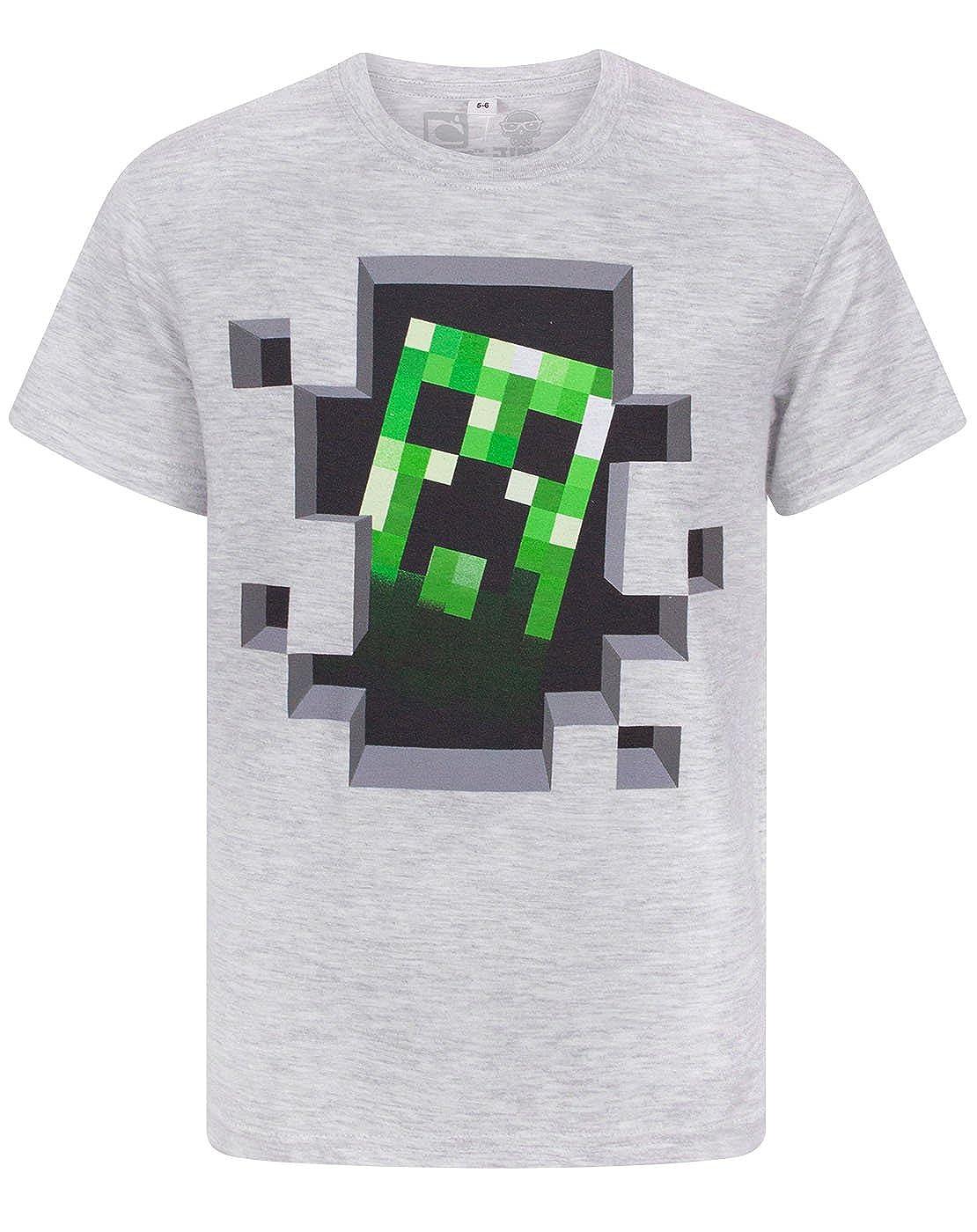 Minecraft Boy's Creeper Gray T-Shirt Jinx