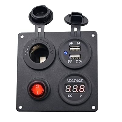 TURN RAISE Dual USB Charger Aluminum Switch Panel + LED Voltmeter + 12V Power Socket + ON-Off Button Switch Four Hole Panel for Car Boat Marine Truck Motorcycle RV ATV Vehicles GPS Mobile Phone