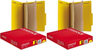 Universal Pressboard Classification Folders, Letter, Six-Section, Yellow, 10/Box (10304), 2 Pack