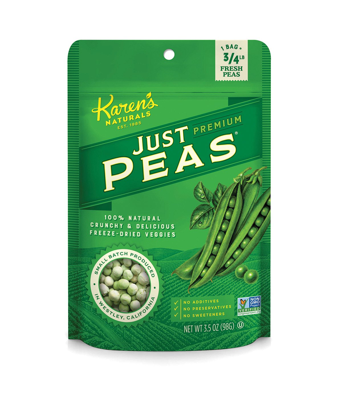 Karen's Naturals Just Tomatoes, Just Peas 3.5 Ounce Pouch  (Packaging May Vary)