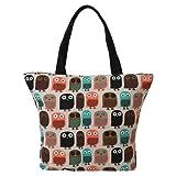 LATH.PIN Eule Shopper Beuteltasche Eule große Umhängetasche Wasserfest Tasche Damen Schultertasche