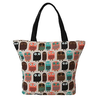 LATH.PIN Shopper Canvas Bag Owl Womens Shoulder Shopping Tote ...