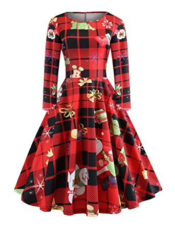 4aca6059999 FeelinGirl Femme Robe Noel Femme Robe de Noel Femme Robe Noel Fille a  Carreaux Classique S-XXL  Amazon.fr  Vêtements et accessoires