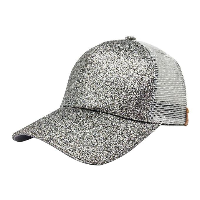 LiucheHD Berretti da baseball 2018 Donna Cappellini con Visiera Ponytail  Paillettes lucido Messy Bun Snapback Hat Sun Caps uomini donne casual  Tessuto ... 1e562e73a9f0