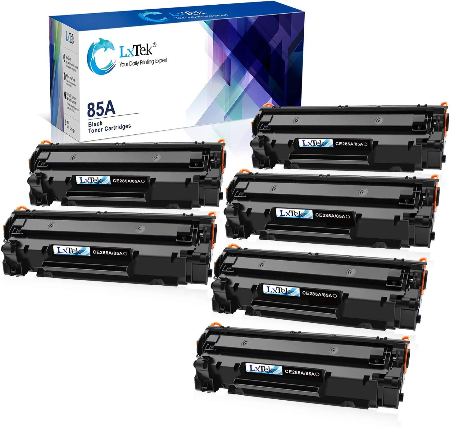 LxTek Compatible Toner Cartridge Replacement for HP 85A CE285A 2 Black Bundled with 4 Black (Total 6 Pack)