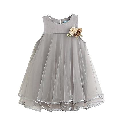 YASSON Mädchen Kleider Ärmellos Rundhals Tüllkleid Süß 3D Blumen Brosche Tutu Prinzessin Partykleid Kleinkinder Hochzeitkleid