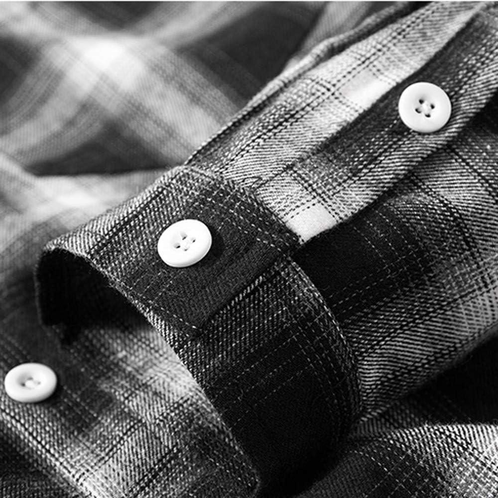 WM /& MW Fashion Mens Casual Shirt Plus Size Autumn Long Sleeve Pocket Button Plaid Shirt Turn-Down Collar Blouse