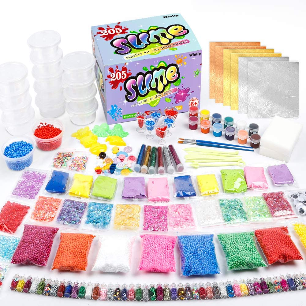 Slime Supplies Kit, 205 Pack Add Ins Slime Kit for Kids Girls Slime Making, Including Foam Balls, Glitter, Fishbowl Beads, Charms, Clear Containers by WINLIP