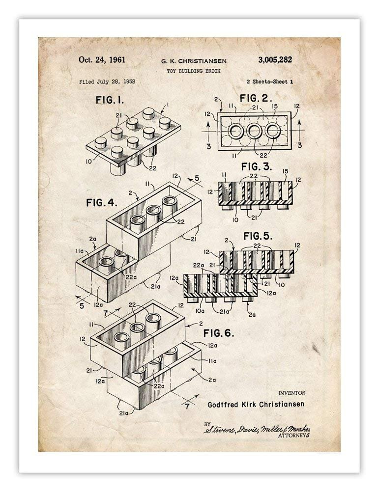 Amazon.com: LEGO Póster Toy Blocks 1961 Patent Art Print ...