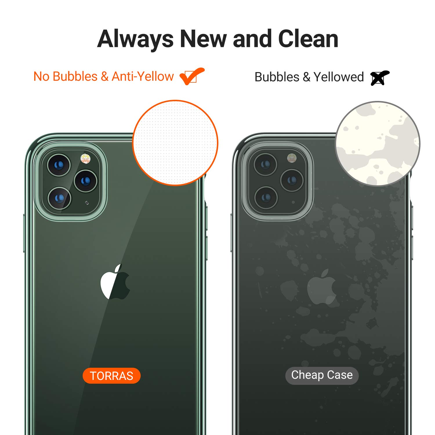 Black Rim Anti-Yellow TORRAS Crystal Clear iPhone 11 Pro Max Case, with Electroplated Frame Soft TPU Silicone Shockproof Protective Cover Case for iPhone 11 Pro Max