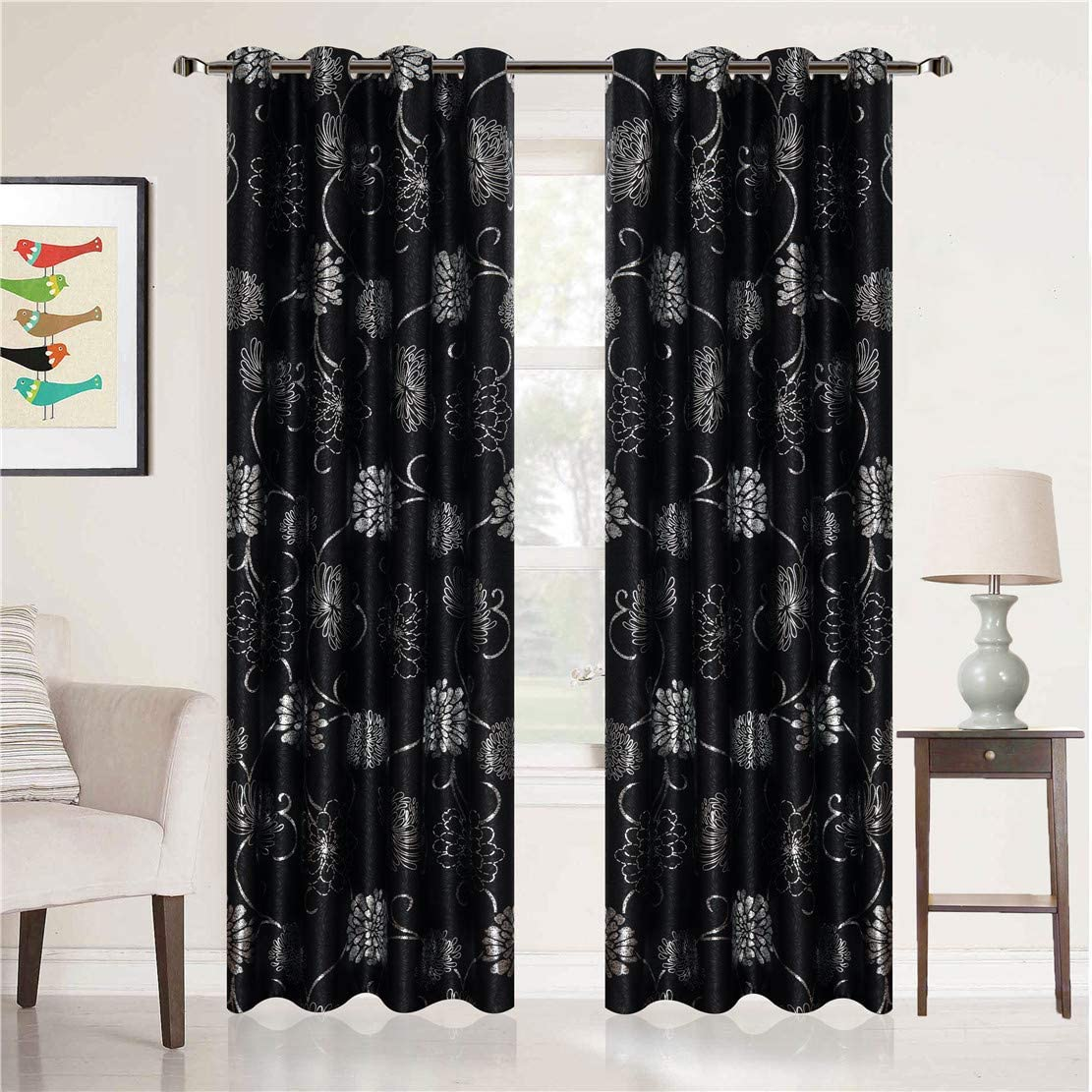 MYRU 2 Panels Black and Sliver Blackout Curtains for Bedroom, Luxury Flower Curtains for Living Room Silver Flower,2 x 54 x 96 Inch
