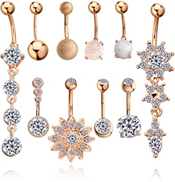 14G Navel Belly Button Ring Tassel Crystal Butterfly Body Piercing Rings