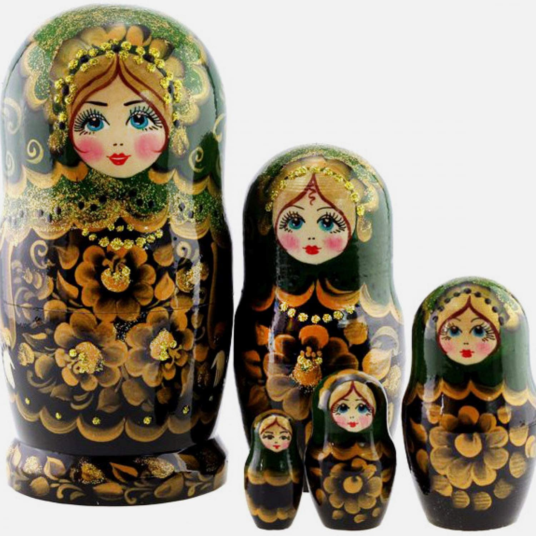 "Russian Nesting Doll Set of 10 pieces Handmade Wooden Matryoshka 9/"" Green shawl"