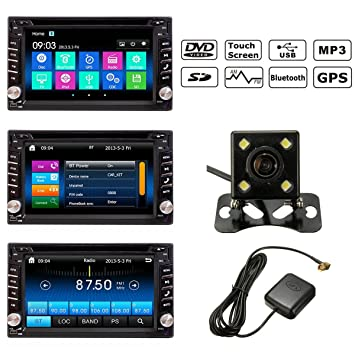 "Audew - Radio para automóvil (6,2"", 2DIN, Bluetooth, DVD"