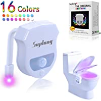 Toilet Light, SUPLONG WC Light 16 Colors Changing LED Auto Motion Activated Toilet Night Lights Sensor Seat Lighting Lamp Bathroom Washroom 3pcs AAA Battery-Operated