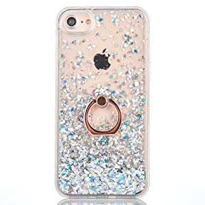 iPhone 7 Case [With Free Tempered Glass Screen Protector],Mo-Beauty¨ Flowing Liquid Floating Flowing Bling Shiny Sparkle Glitter Crystal Clear Plastic Hard Case Protective Shell Case Cover For Apple iPhone 7 (White)
