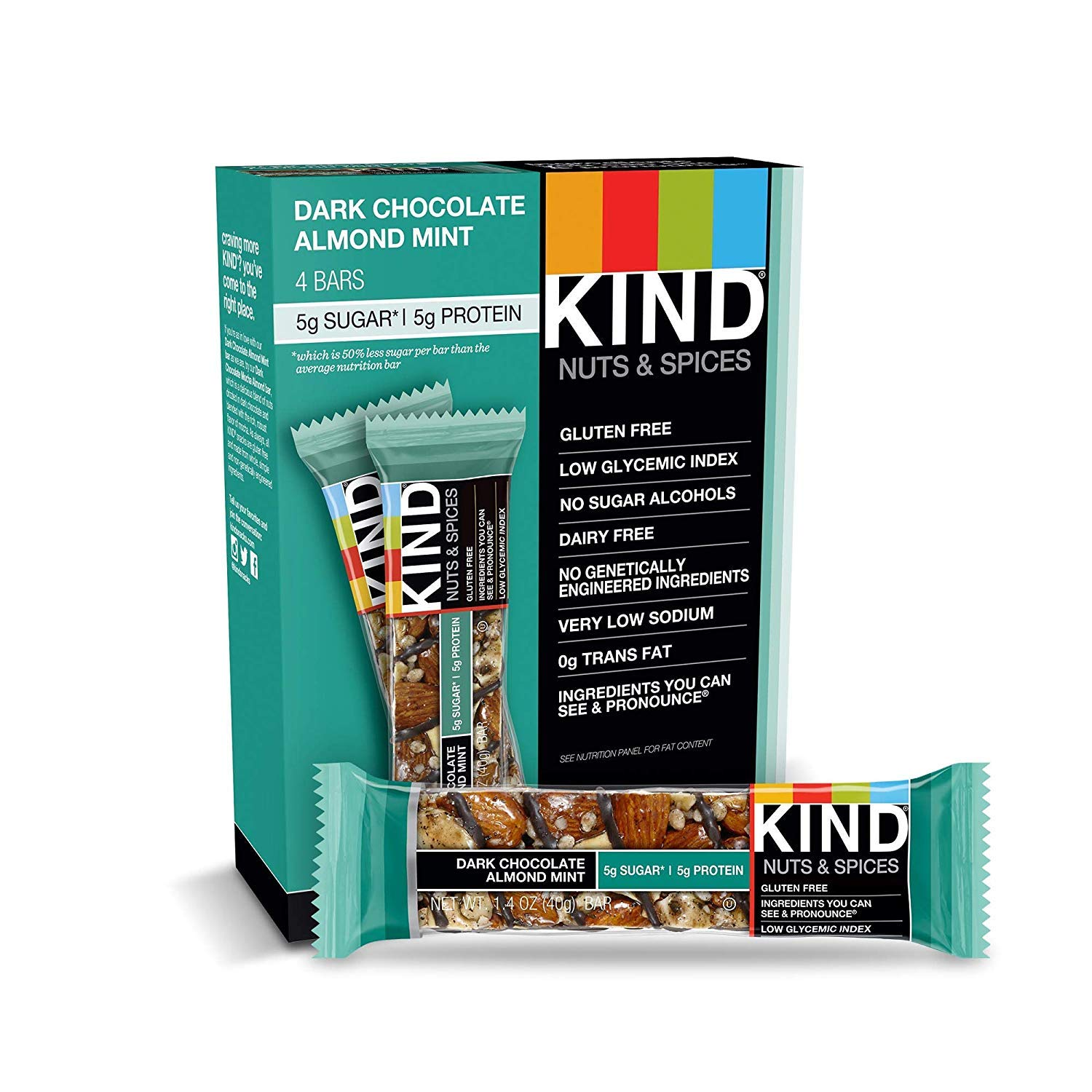 KIND Nuts and Spices, Dark Chocolate Almond Mint, 48 Count by KIND