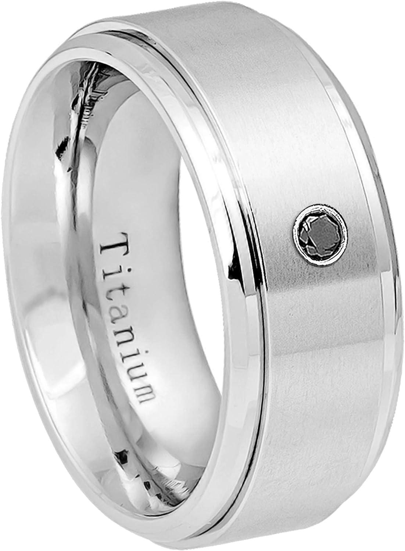 0.21ctw White Diamond Titanium Ring 6MM Comfort Fit White Dimpled Center with Milgrained Edge Titanium Wedding Band