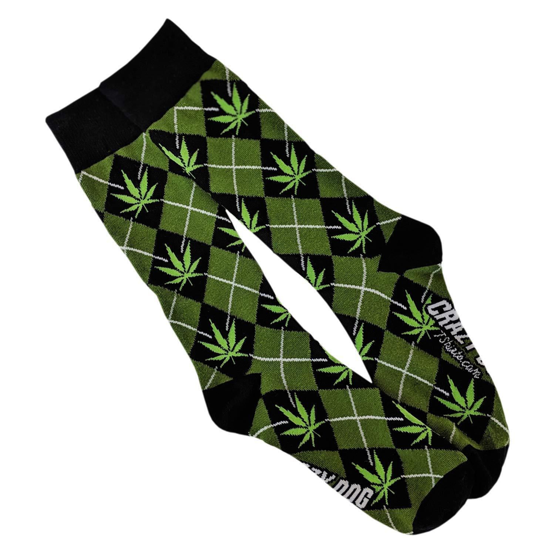 Marijuana Argyle Socks Funny Pot Leaf Stoner Footwear - Mens Green 7-12