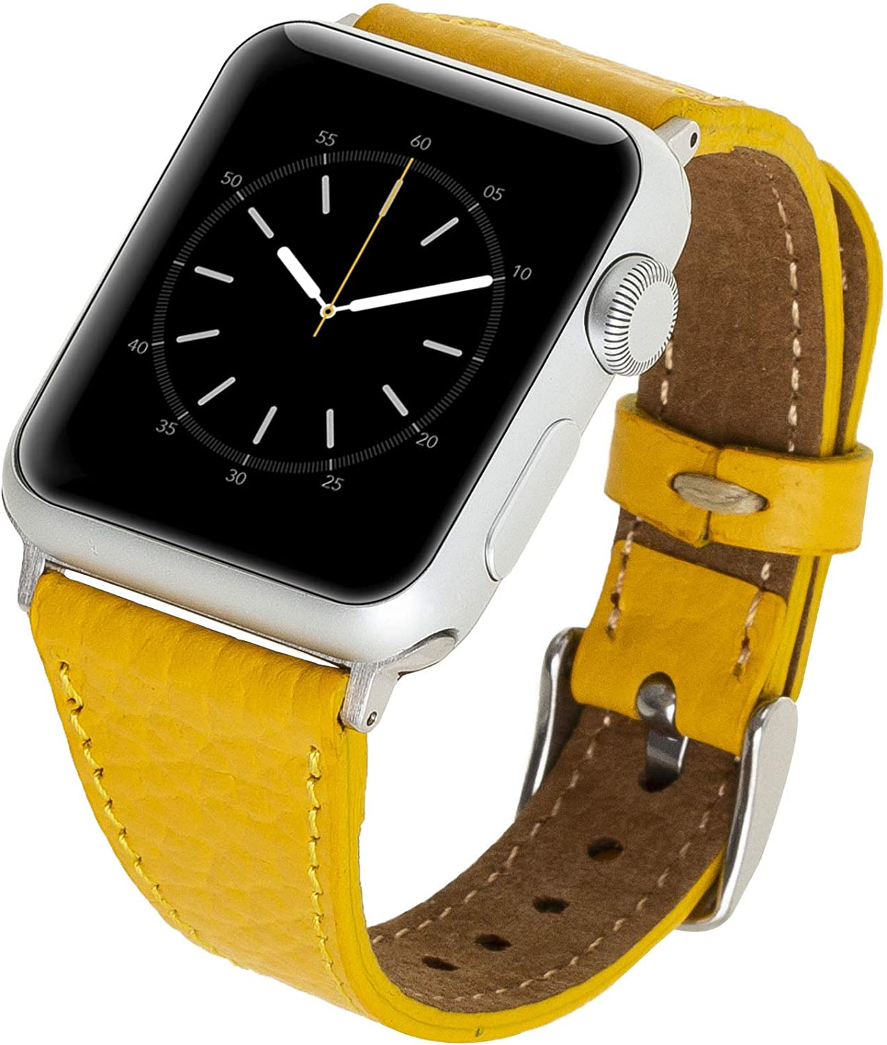 Venito Messina Leather Slim Watch Band Compatible with Apple Watch 38mm 40mm - Strap Designed for iwatch Series 1 2 3 4 5 6 (Yellow w/Silver Connector&Clasp)