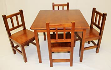 Amazoncom eHemco Kids Table and 4 Chairs Set Solid Hard Wood