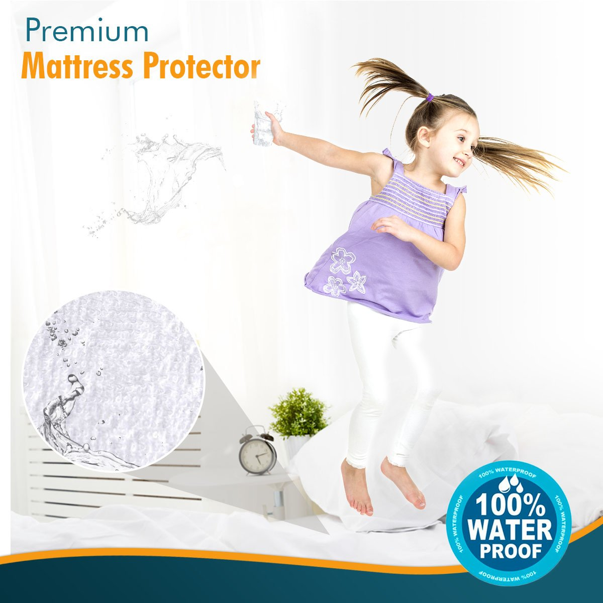 Breathable Soft Cotton Terry Surface Vinyl Free 10 Year Warranty from PlushDeluxe Twin Premium 100/% Waterproof Mattress Protector Hypoallergenic