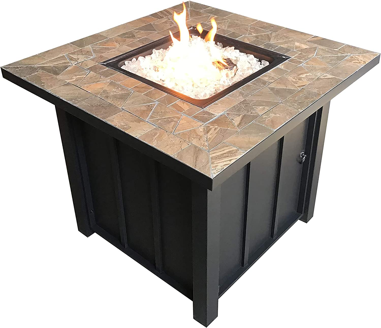 Hiland AFP-STT Slate Tile Top 40,000 BTU Propane Fire Pit, Square Bronze