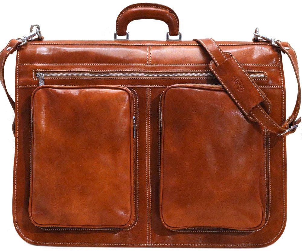 Floto Venezia Olive (Honey) Brown Leather Garment Bag Suitcase