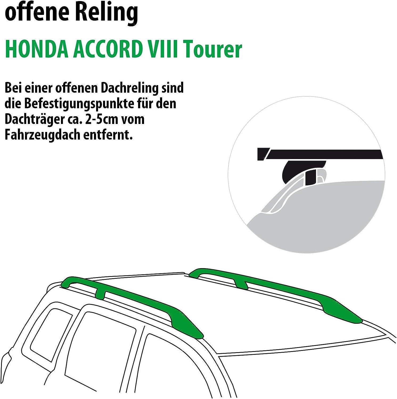 Rameder Komplettsatz Dachtr/äger SquareBar f/ür Honda Accord VIII Tourer 115961-07804-185