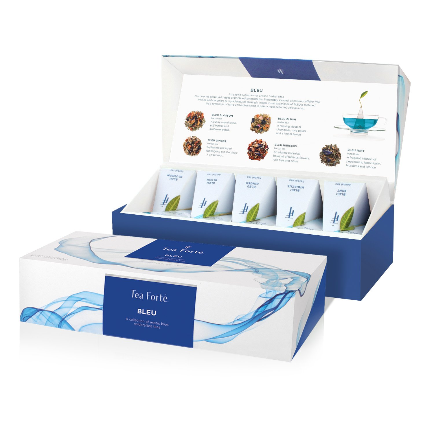 Tea Forté BLEU Petite Presentation Box Tea Sampler, Assorted Variety Tea Box, 10 Handcrafted Pyramid Tea Infuser Bags – Blue Herbal Tea by Tea Forte