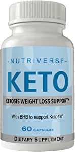 Nutriverse Keto Diet Pills Advanced Energy Ketones Purple Bottle with Go BHB Capsules Ketones Ketogenic Supplement for Weight Loss Pills 60 Capsules 800 MG GO BHB Salts