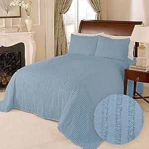 HowPlum 100% Cotton Tufted Chenille Stripe Textured Full Double Bedspread Lightweight Bedding Coverlet, Blue
