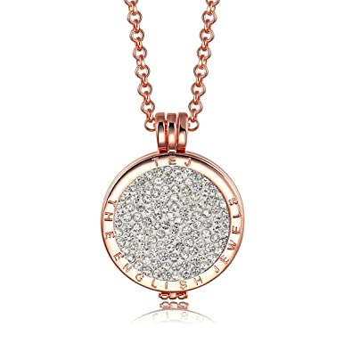 Interchangeable coin pendant necklace rose gold plated including interchangeable coin pendant necklace rose gold plated including belcher chain 25 30 inch mozeypictures Gallery