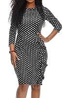 Mystry Zone Women's Sexy Bodycon 3/4 Sleeve Polka Dot Ruffles Evening Party Pencil Midi Dress