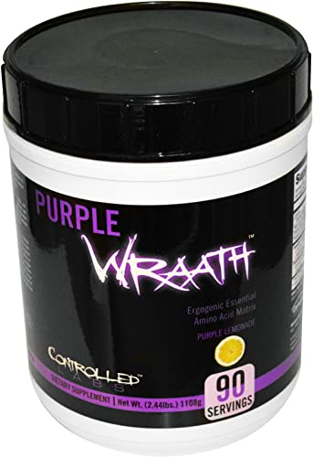 Purple Wraath by Controlled Labs, BCAA and EAA Amino Acid Supplement, 45 or 90 Servings with Endurance Blend Intra Workout Powder, Optimal Endurance, Focus, and Stamina Lemonade, 90 Servings