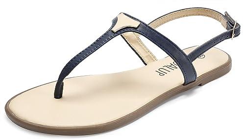 cebb95ea2a58 SANDALUP Women  s Gladiator Thong Sandals Flat Sandals Blue 05