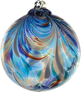 Kitras Art Glass Decorative Feather Ball, 3-Inch, Sapphire Sea