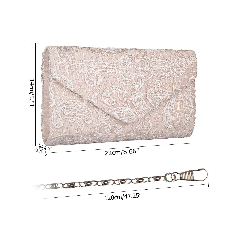 Baglamor Womens Elegant Floral Lace Envelope Clutch Evening Prom Handbag Purse