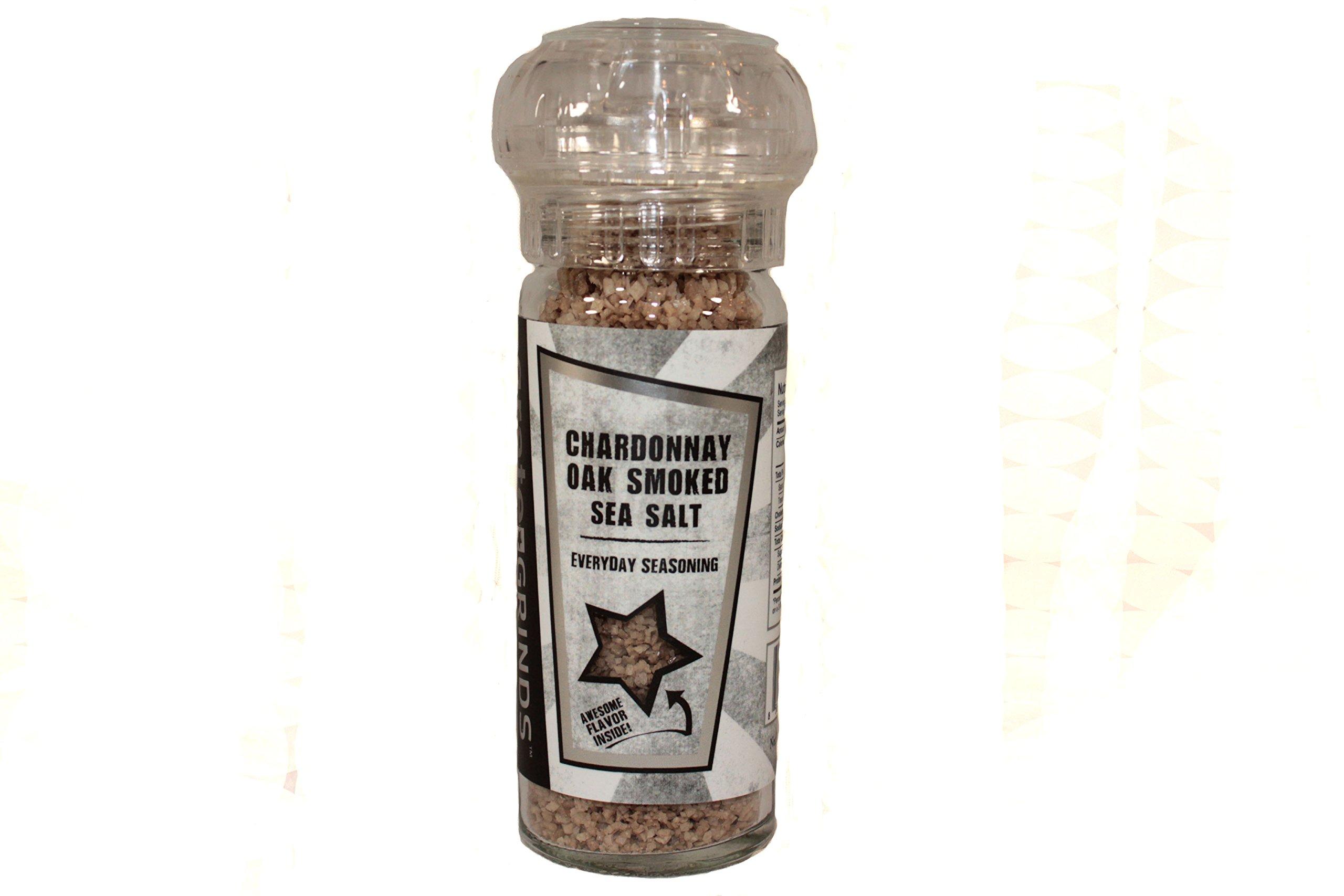 Chardonnay Oak Smoked Sea Salt in a refillable spice grinder bottle