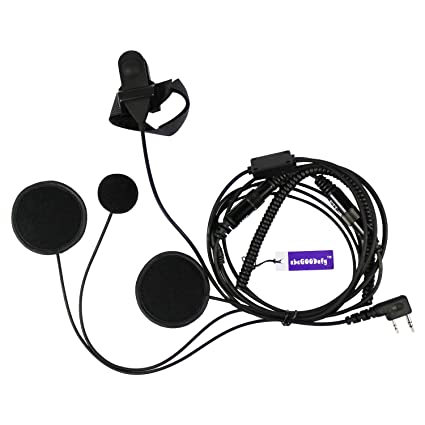 llena Cara Casco Moto Auricular Con Micrófono PTT Para 2 pin Kenwood HYT PUXING WOUXUN LINTON