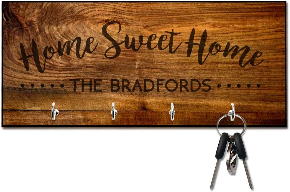 Personalized Rich Wood Look Home Sweet Home Key Hanger