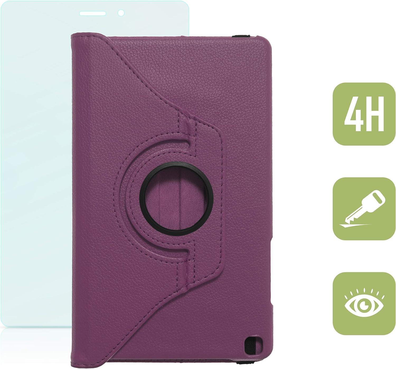 Drehbare H/ülle mit Standfunktion f/ür Samsung Galaxy Tab A 8.0 inkl passend f/ür Modell SM-T290, SM-T295 und Wake-Up-Funktion Panzerfolie aus Glas in BRAUN mit automatischer Sleep