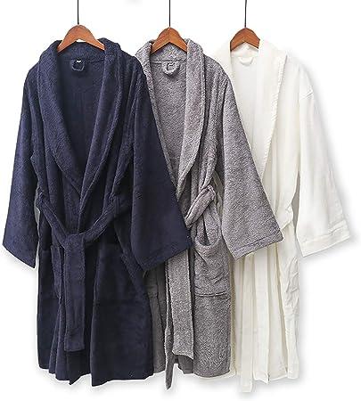 XUMING para Hombre de Las señoras de Albornoz Bata Bata de baño de Rizo Vestidos Estilo japonés 100% algodón Batas de Toalla Mujer de los Hombres,Azul,M: Amazon.es: Hogar