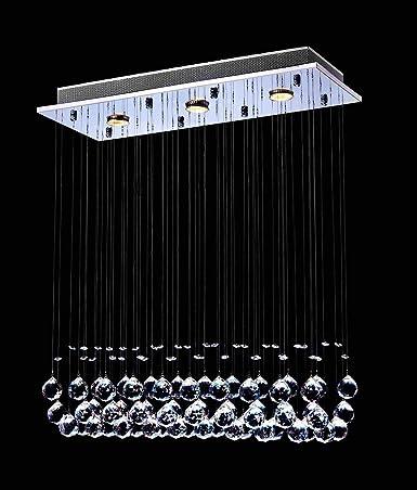 Saint Mossi Chandelier Modern K9 Crystal Raindrop Chandelier Lighting Flush mount LED Ceiling Light Fixture Pendant Lamp for Dining Room Bathroom Bedroom Livingroom 3 GU10 Bulb Required H33 W10 L25