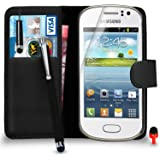 Samsung Galaxy Fame s6810 Premium Leather Black Wallet Flip Case Cover Pouch + Mini Touch Stylus Pen + Big Touch Stylus Pen + Screen Protector & Polishing Cloth SVL3 BY SHUKAN®, (WALLET BLACK)