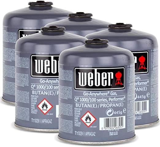 Weber - Juego de bombonas de gas 26100 para la serie Q 100 y Performer Touch-N-Go, 5 unidades